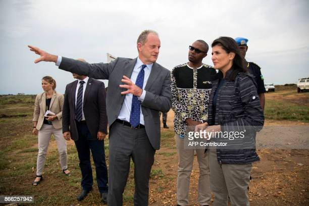 UN envoy for South Sudan David Shearer briefs US Ambassador to the United Nations Nikki Haley during a visit to the UN Protection of Civilians site...