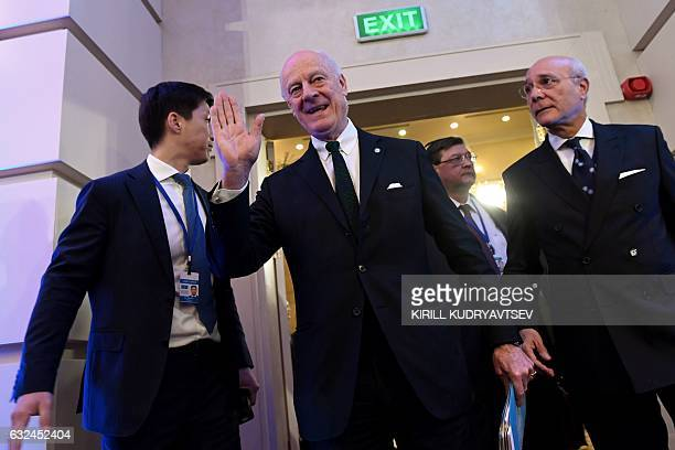 UN envoy for Syria Staffan de Mistura and his deputy Ramzy Ezzeldin Ramzy arrive to attend the first session of Syria peace talks at Astana's Rixos...