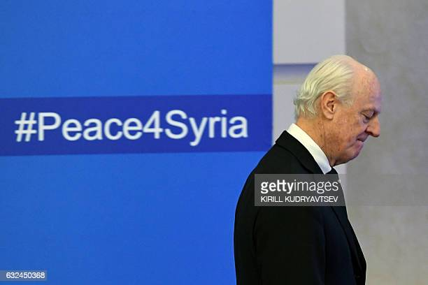 UN envoy for Syria Staffan de Mistura arrives to attend the first session of Syria peace talks at Astana's Rixos President Hotel on January 23 2017 /...