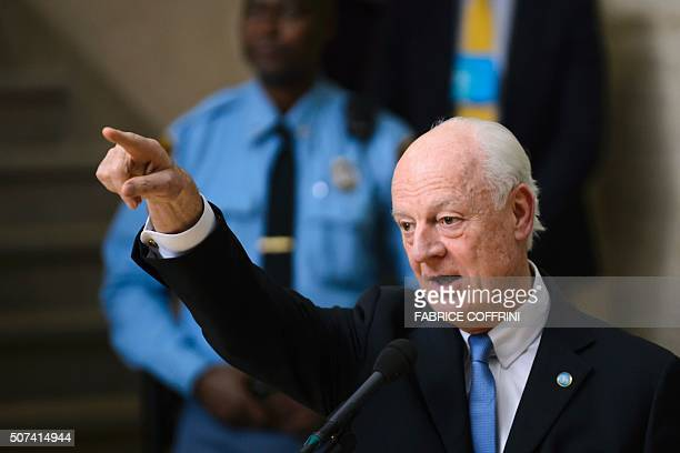 UN envoy for Syria Staffan de Mistura gestures as he speaks after a session of Syrian peace talks with the Syrian government delegation at the United...