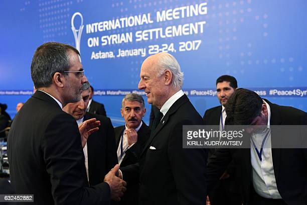 UN envoy for Syria Staffan de Mistura meets with an Iranian delegation prior to the first session of Syria peace talks at Astana's Rixos President...