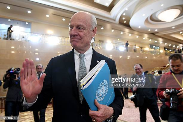 UN envoy for Syria Staffan de Mistura walks to attend the announcement of a final statement following Syria peace talks in Astana on January 24 2017...