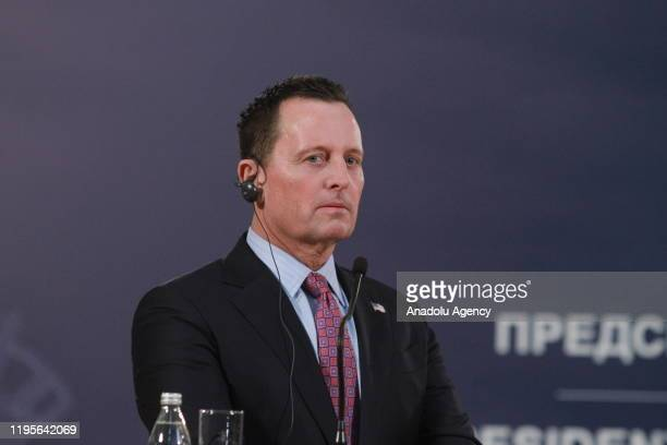 S envoy for the KosovoSerbia dialogue Richard Grenell listens during a joint press conference held with Serbian President Aleksandar Vucic following...