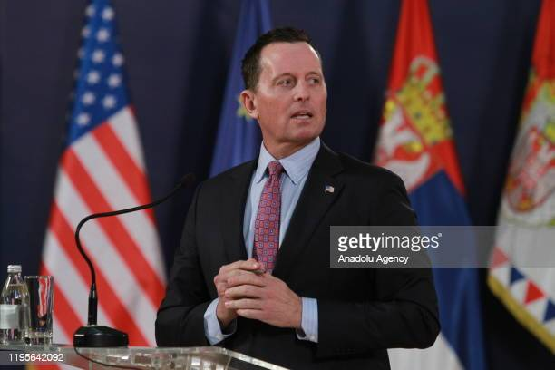 S envoy for the KosovoSerbia dialogue Richard Grenell speaks during a joint press conference held with Serbian President Aleksandar Vucic following...