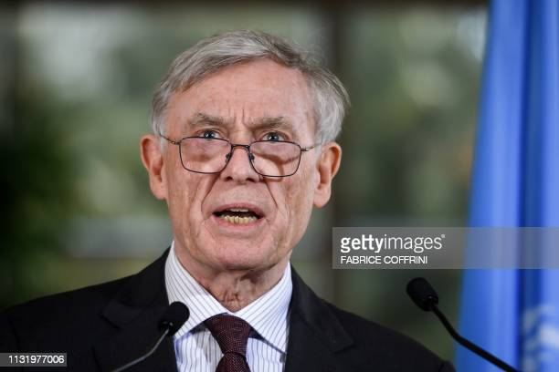 Envoy of the UN SecretaryGeneral for Western Sahara Horst Kohler addresses the media following a twoday round of talks on ending the Western Sahara...