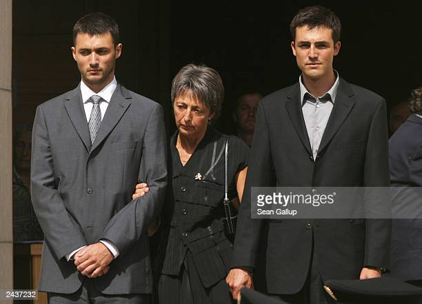UN envoy Sergio Vieira de Mello's widow Annie and sons Laurent and Adrian leave St Paul's Church after funeral ceremonies for Vieira de Mello on...