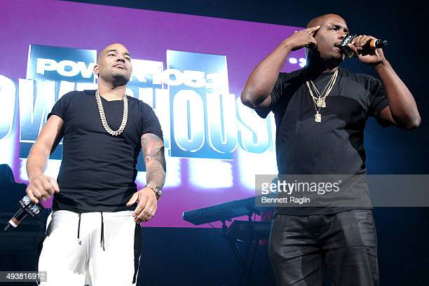 Envy and DJ Self speak onstage during 1051's Powerhouse 2015 at the Barclays Center on October 22 2015 in Brooklyn NY