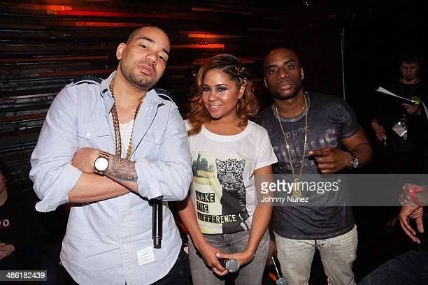 DJ Envy Angela Yee and Charlamagne Tha God attend the Revolt TV 2014 Upfront presentation at Marquee on April 22 2014 in New York City