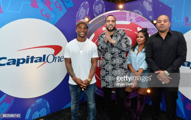 Envy Angela Yee and Charlamagne Tha God of The Breakfast Club and French Montana attend the 2017 iHeartRadio Music Festival at TMobile Arena on...
