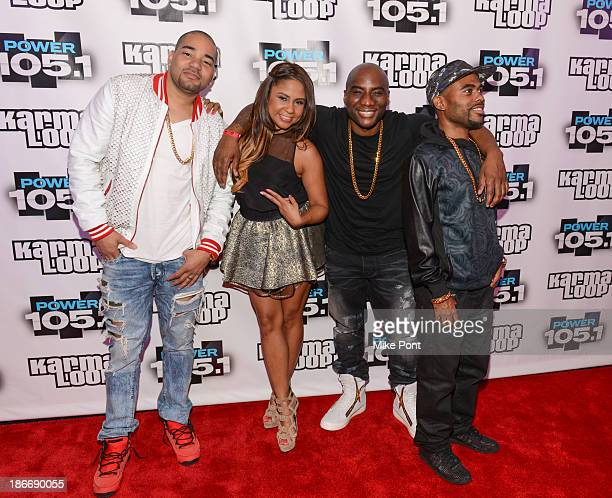 Envy Angela Yee Charlamagne Tha God and Lil Duval attend Power 1051's Powerhouse 2013 at Barclays Center on November 2 2013 in New York City