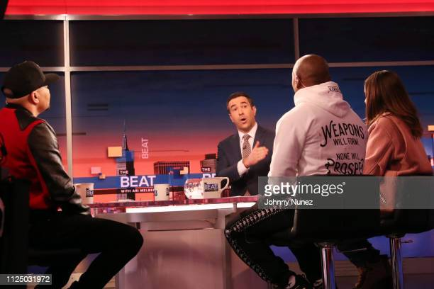 DJ Envy Ari Melber Charlamagne tha God and Angela Yee attend Ari Melber visits the Breakfast Club with DJ Envy Angela Yee Charlamagne tha God at...