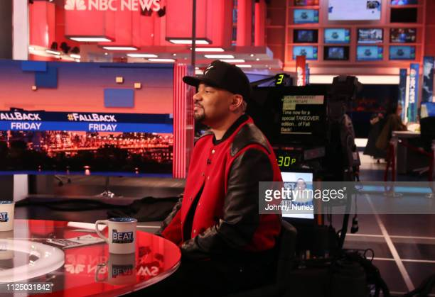 Envy attends Ari Melber visits the Breakfast Club with DJ Envy Angela Yee Charlamagne tha God at MSNBC Studios on February 14 2019 in New York City