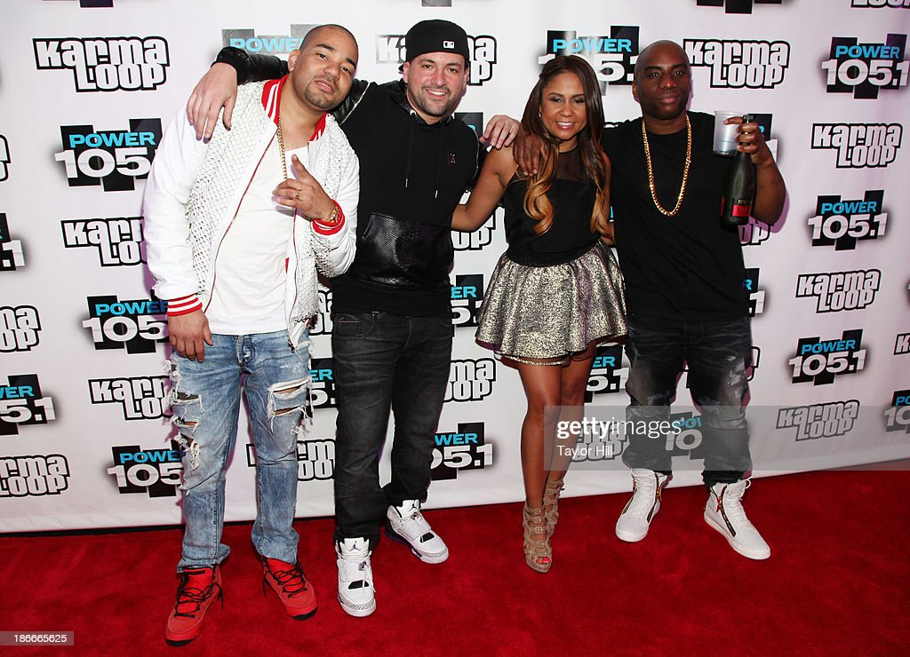 DJ Envy, DJ Prostyle; Angela Yee and Charlamagne Tha God attend Power 105.1's Powerhouse 2013, presented by Play GIG-IT, at Barclays Center on November 2, 2013 in New York City.