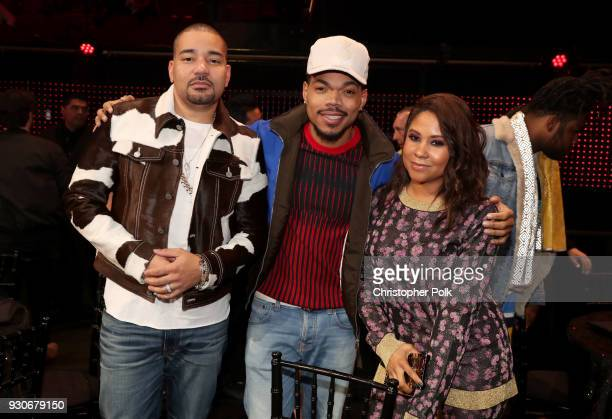 DJ Envy honoree Chance The Rapper and Angela Yee attend the 2018 iHeartRadio Music Awards which broadcasted live on TBS TNT and truTV at The Forum on...