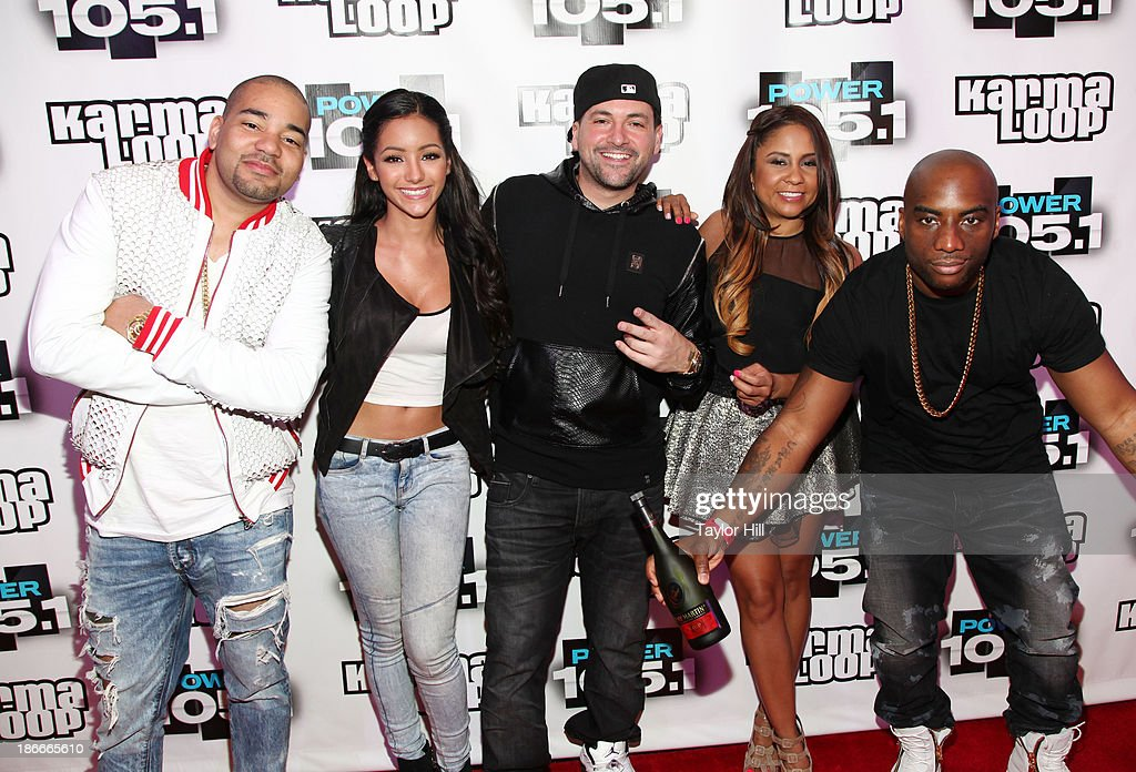 DJ Envy, Melanie Iglesias, DJ Prostyle; Angela Yee and Charlamagne Tha God attend Power 105.1's Powerhouse 2013, presented by Play GIG-IT, at Barclays Center on November 2, 2013 in New York City.