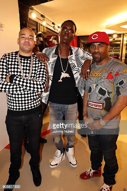 DJ Envy Young Dolph and DJ Clue attend DJ Envy's Birthday Celebration at Ferrari Corporate Showroom on September 14 2016 in New York City