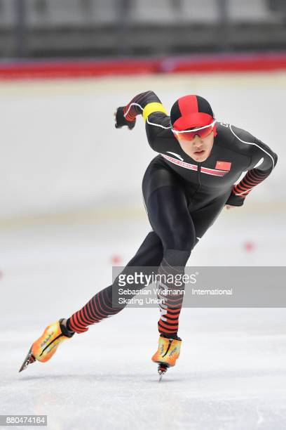Enxue Chen of China performs during the Men 1500 Meter at the ISU Neo Senior World Cup Speed Skating at Max Aicher Arena on November 26 2017 in...