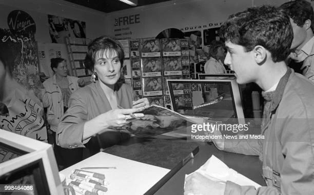 Enya signing autographs in the Virgin Megastore circa October 1988