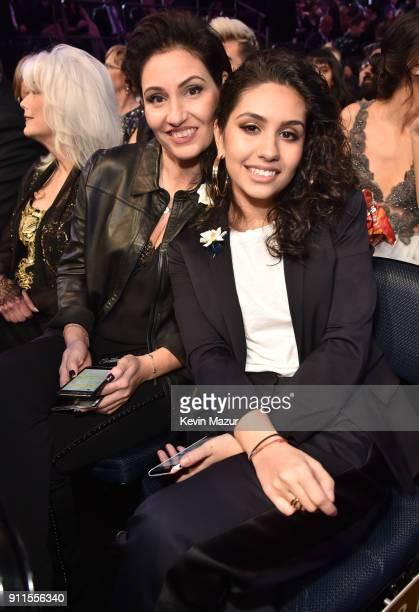 Enza Caracciolo and Best New Artist winner Alessia Cara during the 60th Annual GRAMMY Awards at Madison Square Garden on January 28 2018 in New York...