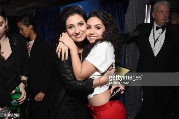 Enza Ciccione and Alessia Cara appear backstage during the 60th Annual GRAMMY Awards at Madison Square Garden on January 28 2018 in New York City