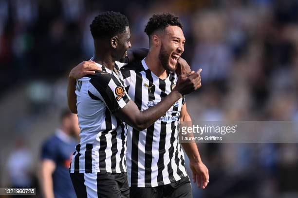 Enzio Boldewijn and Kyle Wootton of Notts County celebrate victory following the Vanarama National League Play Off match between Notts County and...