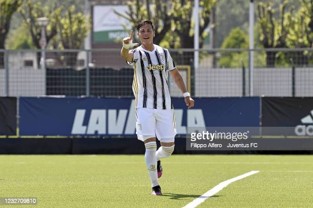 Enzo Barrenechea of Juventus celebrates after scoring a goal during the Primavera 1 TIM match between Juventus U19 and Empoli FC U19 at Juventus...