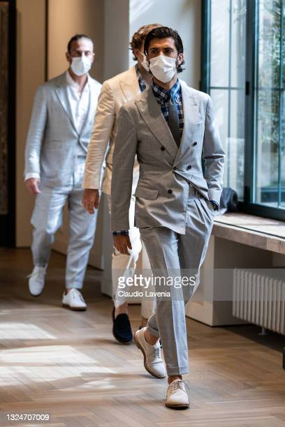 Enzo Biagiotti attends the Brunello Cucinelli SS22 Menswear Collection Presentation on June 19, 2021 in Milan, Italy.