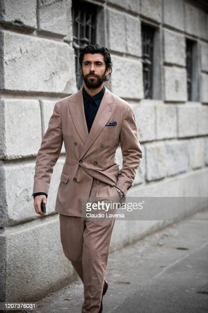 Enzo Biagiotti wearing Brunello Cucinelli is seen during Milan Fashion Week Fall/Winter 20202021 on February 19 2020 in Milan Italy