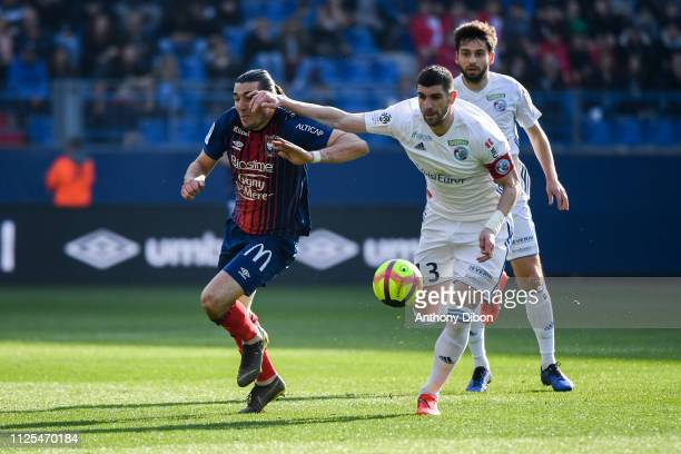 Enzo Crivelli of Caen and Sefan Mitrovic of Strasbourg during the Ligue 1 match between Caen and Strasbourg at Stade Michel D'Ornano on February 17...