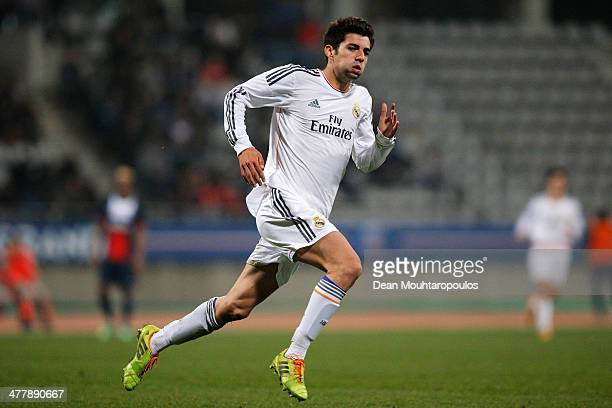 Enzo Fernandez of Real Madrid in action during the UEFA Youth League Quarter Final match between Paris SaintGermain FC and Real Madrid at Stade...