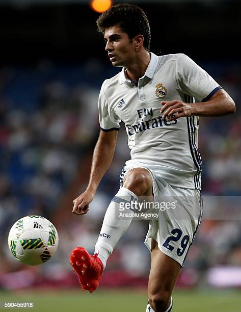 Enzo Fernandez of Real Madrid son of the Real Madrid head coach Zinedine Zidane in action during the 37th Santiago Bernabeu Trophy game between Real...