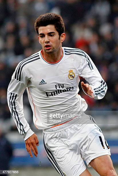 Enzo Fernandez of Real Madrid son of Zinedine Zidane in action during the UEFA Youth League Quarter Final match between Paris SaintGermain FC and...