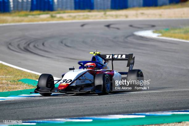 Enzo Fittipaldi of Brazil and Charouz Racing System drives during day two of Formula 3 Testing at Circuito de Jerez on May 13, 2021 in Jerez de la...