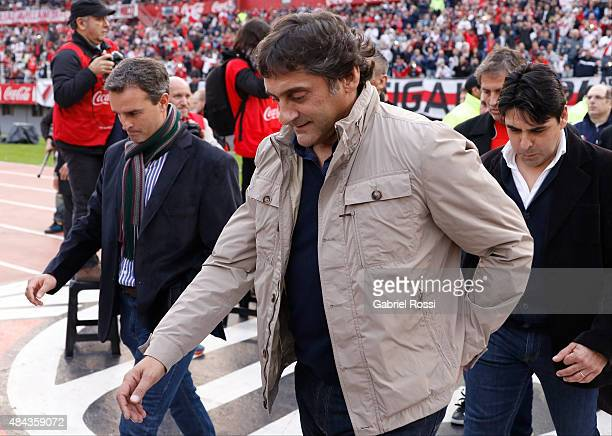 Enzo Francescoli former player of River Plate enters the field prior to a match between River Plate and San Martin as part of 20th round of Torneo...