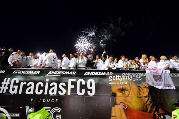 Enzo Francescoli Marcelo Gallardo Guillermo Coria Americo Gallego and Lucas Alario celebrate in the official bus during Fernando Cavenaghi's farewell...