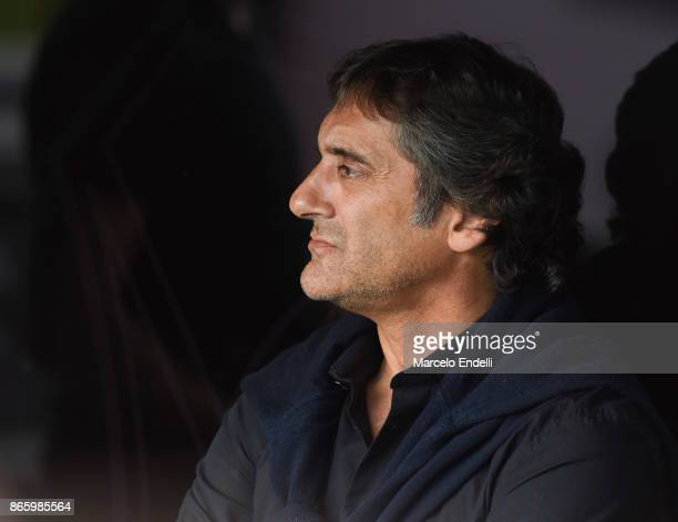Enzo Francescoli sports manager of River Plate looks on prior a first leg match between River Plate and Lanus as part of semifinals of Copa CONMEBOL...