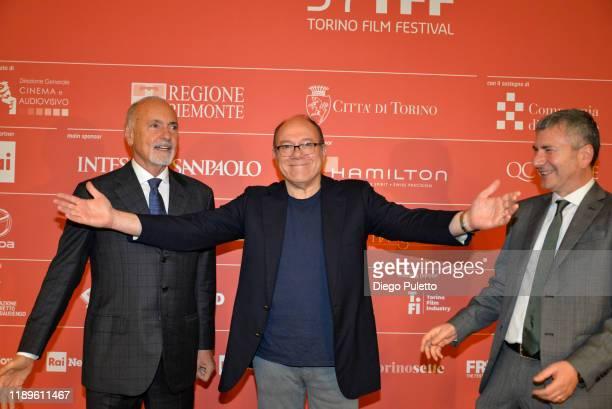 Enzo Ghigo, President of the Turin Film Museum, Carlo Verdone and Alessandro Moreschini attend the Opening Ceremony for the 37th Torino Film Festival...