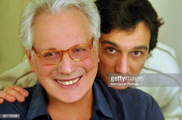Enzo Jannacci poses at a photo shoot with his son Paolo Gallarate Italy 2007 the picture is taken during the show The Best Tour 2007 at Condominio...