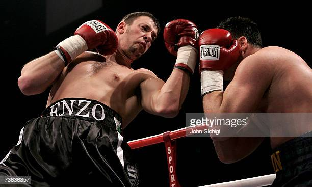 Enzo Maccarinelli throws a left uppercut against Bobby Gunn during their WBO cruiserweight title fight at the Milennium Stadium on April 7 2007 in...