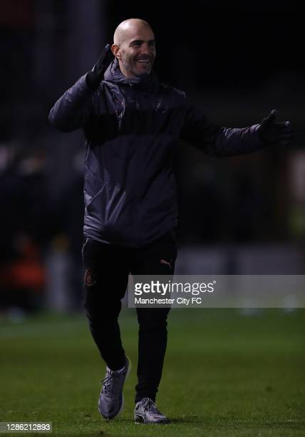 Enzo Maresca, manager of Manchester City U21 looks on during the EFL Trophy match between Lincoln City and Manchester City U21 at Sincil Bank Stadium...