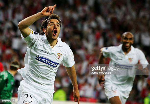 Enzo Maresca of Sevilla FC celebrates scoring the second goal during the UEFA Cup final between Middlesbrough FC and Sevilla FC on May 10 2006 at the...