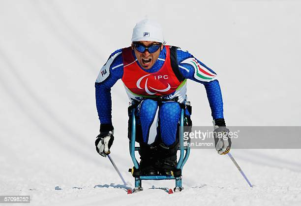 Enzo Masiello of Italy competes in the Men's 10 KM - Sitting Cross Country during Day Five of the Turin 2006 Winter Paralympic Games on March 15,...