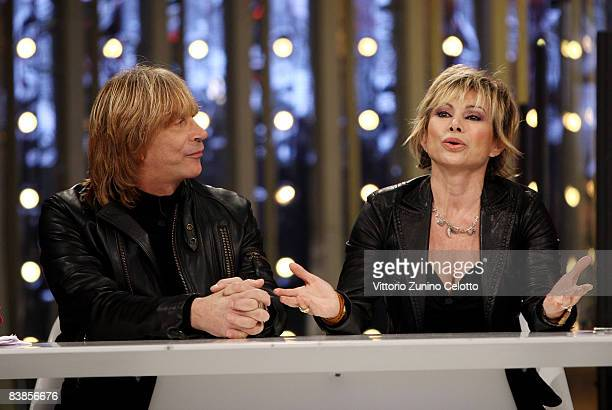 Enzo Paolo Turchi and Carmen Russo attend Scalo 76 Music Show held at RAI Studios on November 29 2008 in Milan Italy