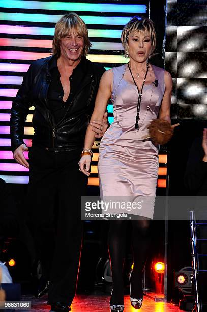 Enzo Paolo Turchi and Carmen Russo during the Italian tv show Quelli che il calcio on November 09 2008 in Milan Italy