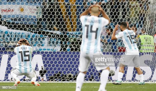 Enzo Perez Javier Mascherano and Sergio Aguero of Argentina gesture after missing a chance to score during the 2018 FIFA World Cup Russia Group D...