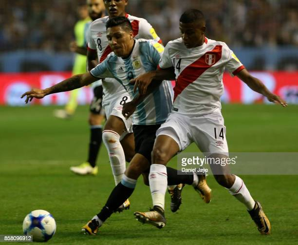 Enzo Perez of Argentina and Andy Polo of Peru fight for the ball during a match between Argentina and Peru as part of FIFA 2018 World Cup Qualifiers...