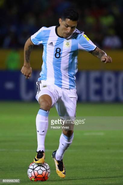 Enzo Perez of Argentina controls the ball during a match between Ecuador and Argentina as part of FIFA 2018 World Cup Qualifiers at Olimpico...