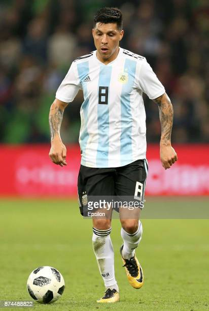 Enzo Perez of Argentina drives the ball during an international friendly match between Argentina and Nigeria at Krasnodar Stadium on November 14 2017...