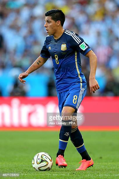 Enzo Perez of Argentina in action during the 2014 FIFA World Cup Brazil Final match between Germany and Argentina at Maracana on July 13 2014 in Rio...