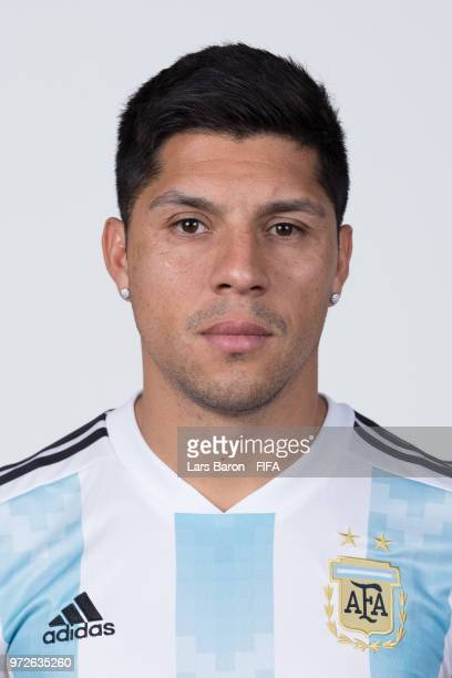 Enzo Perez of Argentina poses for a portrait during the official FIFA World Cup 2018 portrait session on June 12 2018 in Moscow Russia
